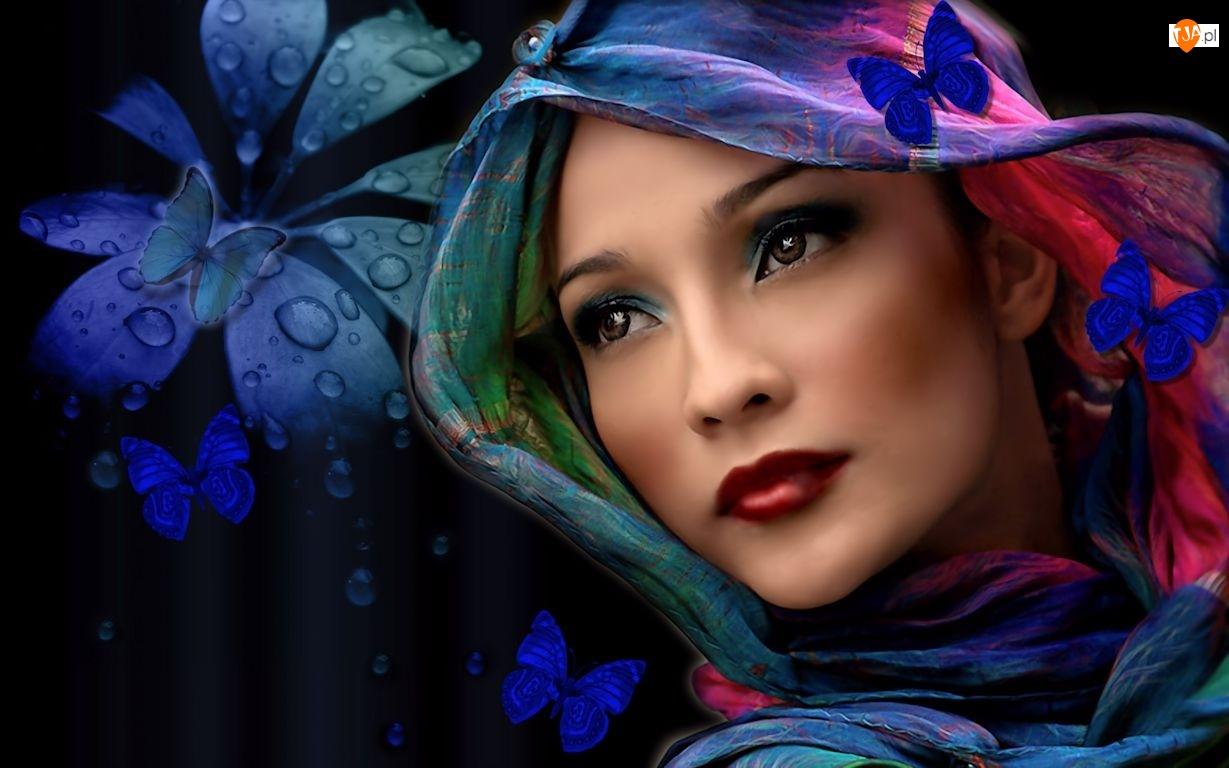 Motyle, Kobieta, Makijaż, Chusta, Kwiat