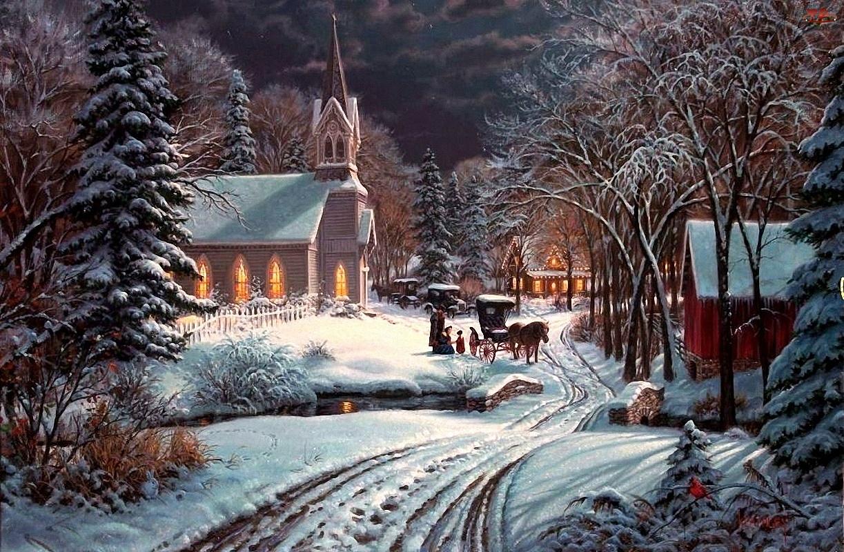 Malarstwo, Zima, Widoczek, Kościół