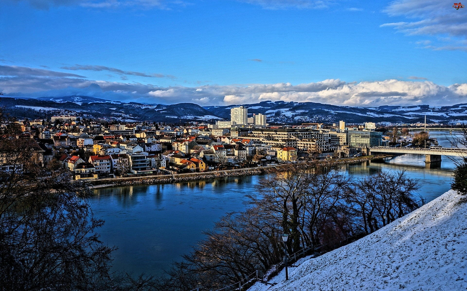 Austria, Zima, Miasto, Rzeka, Góry