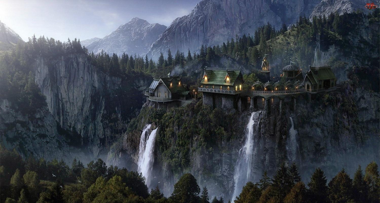 Wodospad, Domy, Góry, Wysokie, Lasy