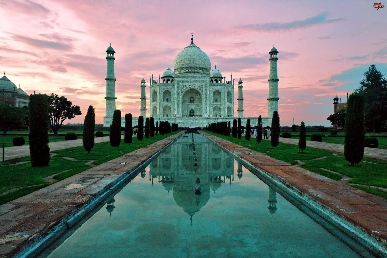 Mauzoleum, Sadzawka lustrzana, Agra, Indie, Tadź Mahal