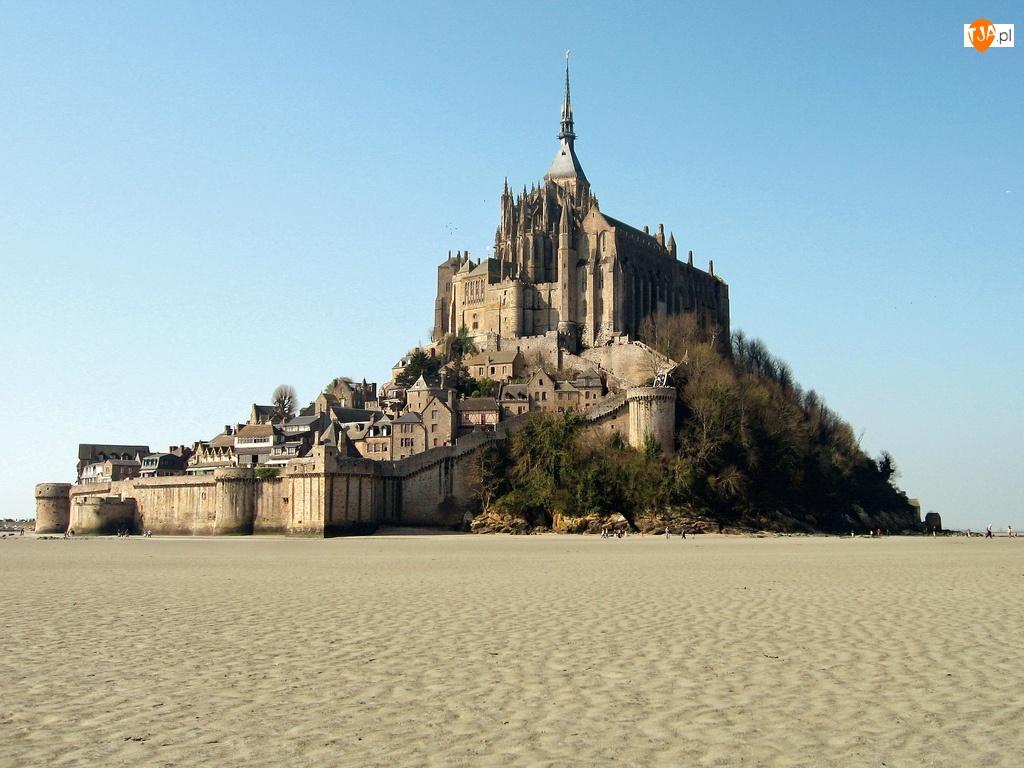 Klasztor, Mont Saint-Michel, Wyspa, Francja, Odpływ