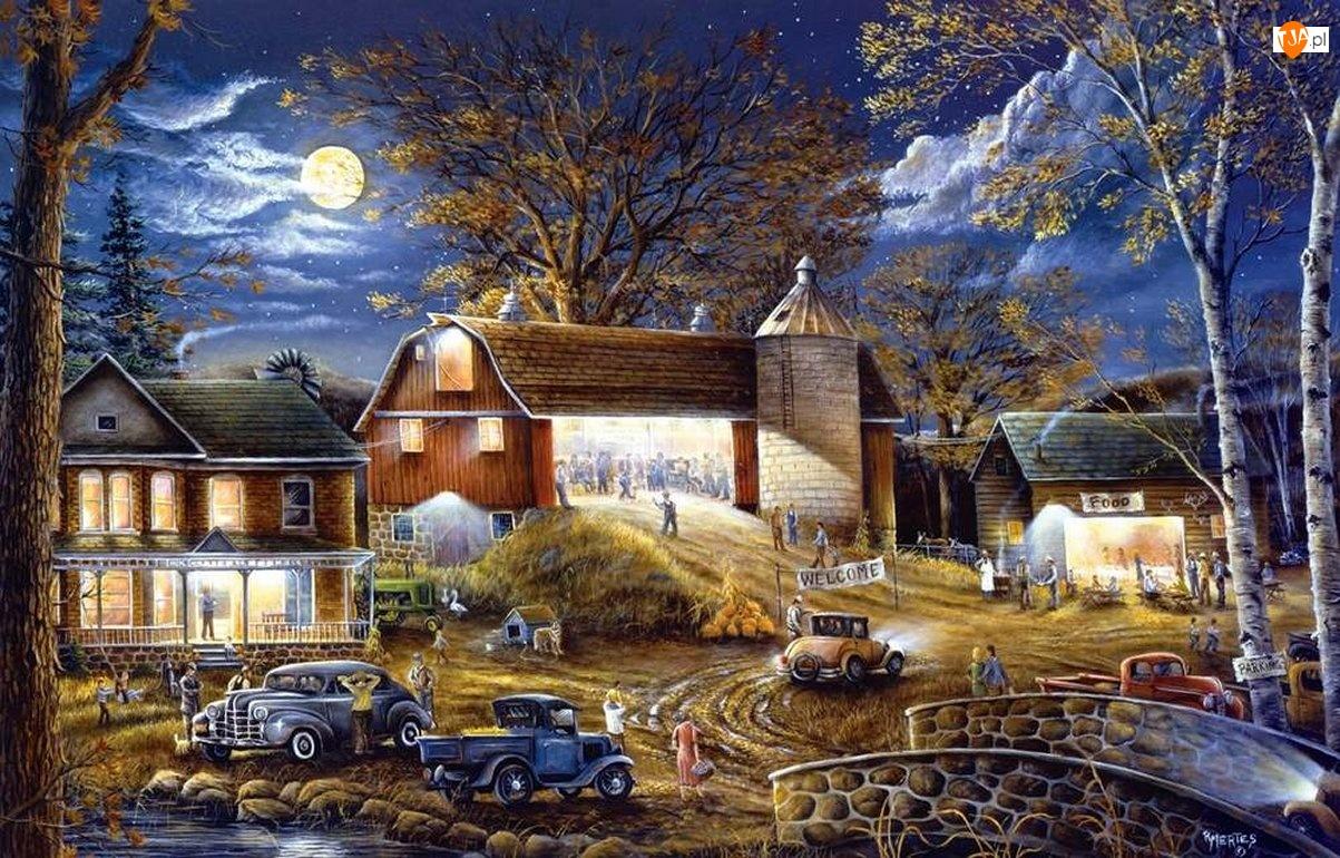 Malarstwo, Domy, Samochody