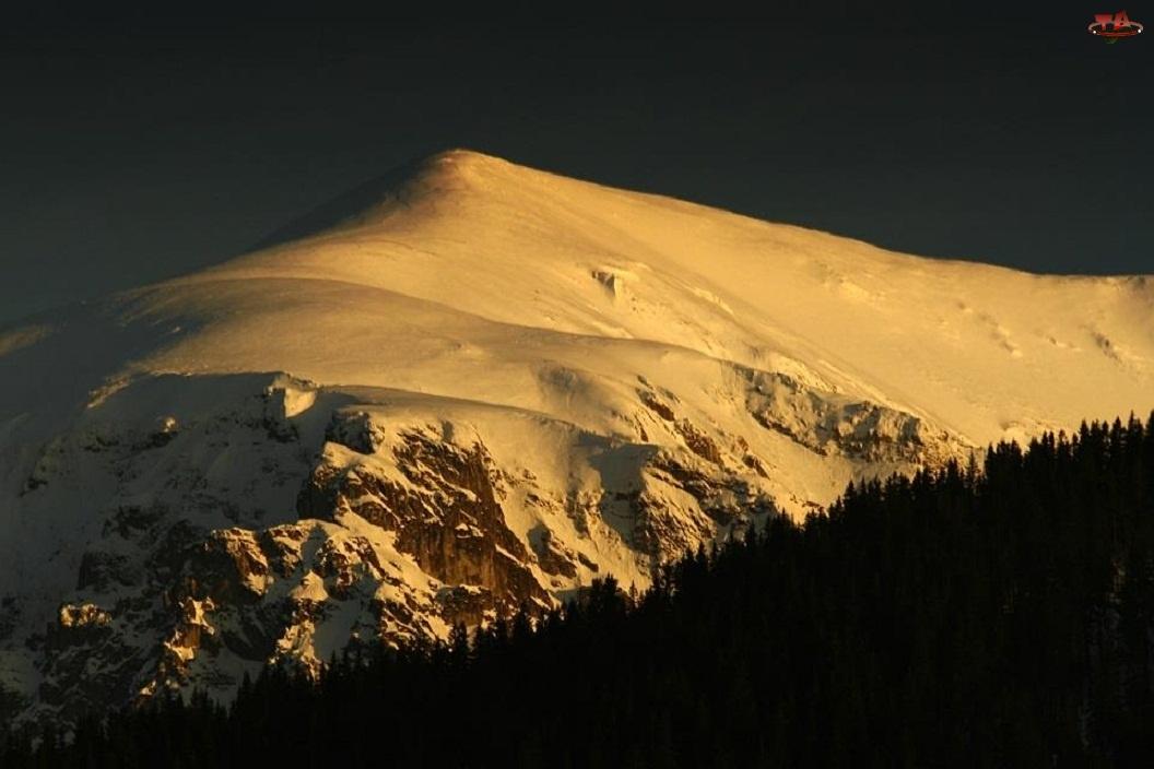 Zima, Słońca, Góry, Zachód