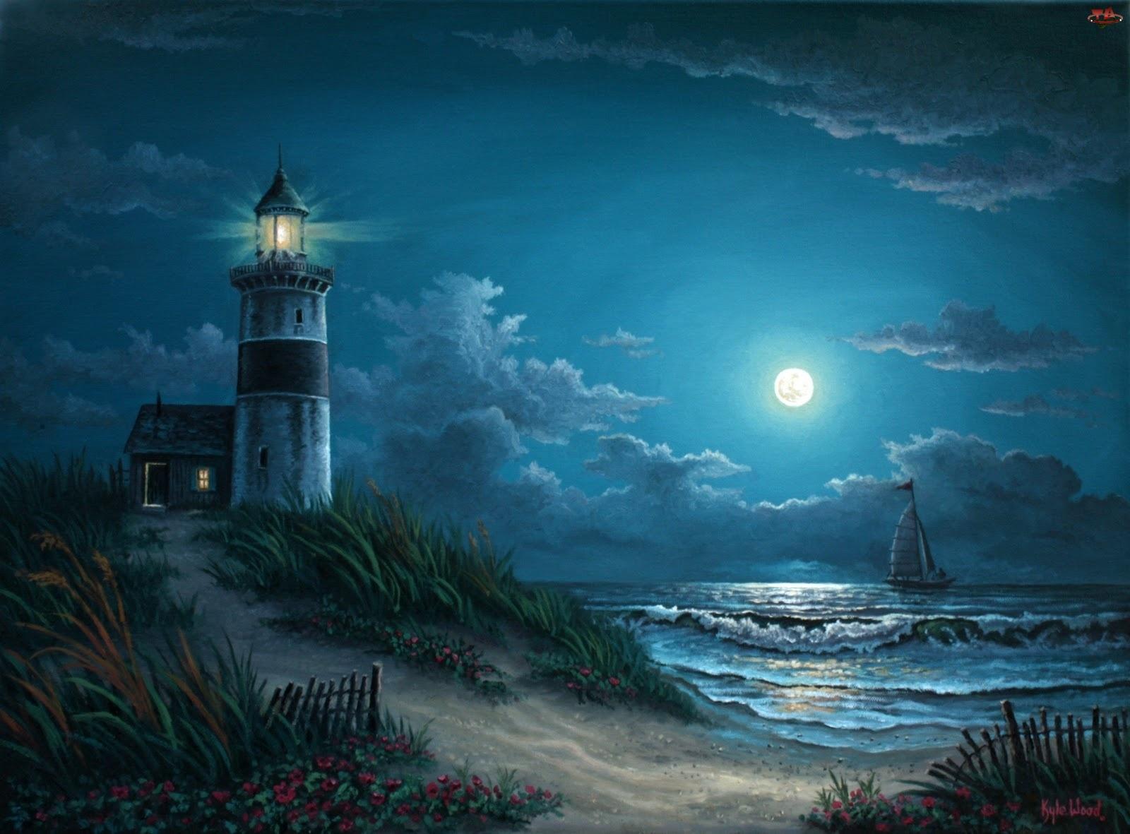 Latarnia Morska, Księżyc, Morze, Noc