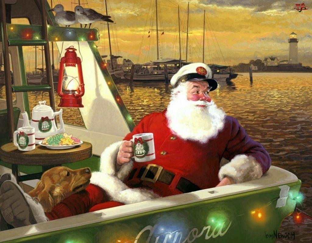 Mikołaj, Malarstwo, Jacht, Boże Narodzenie