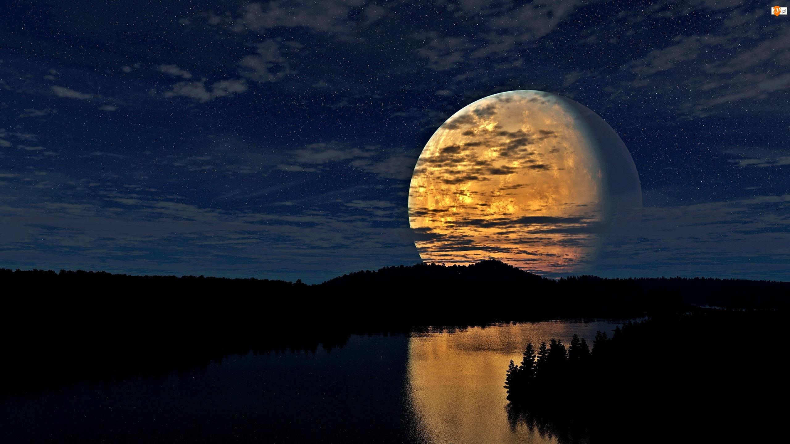 Noc, Księżyc, Las, Rzeka, Gwiazdy