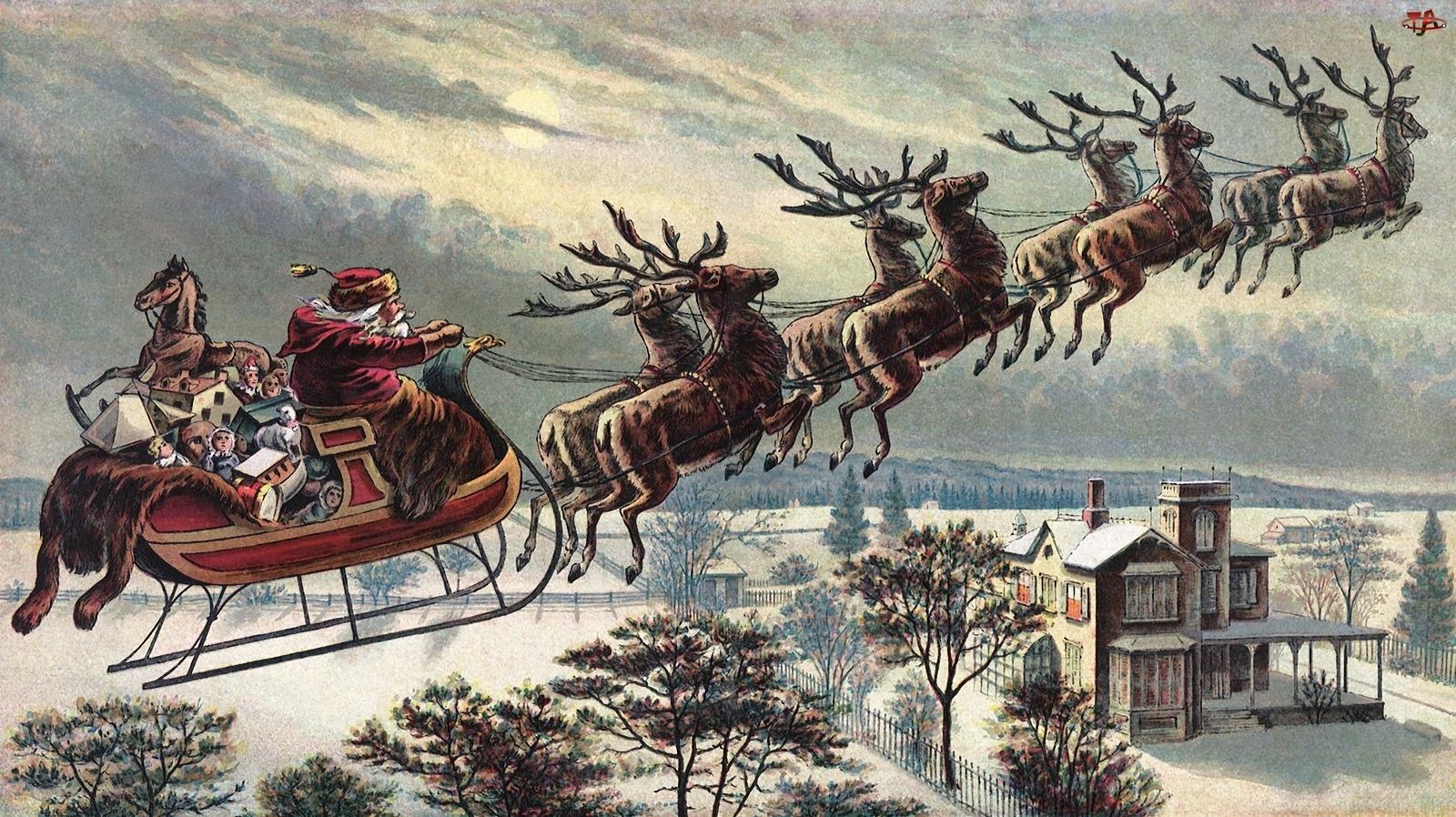 Mikołaj, Boże Narodzenie, Sanie, Zima
