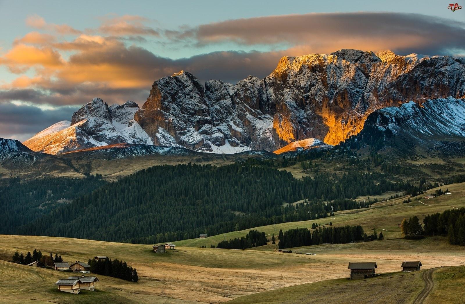 Chmury, Góry, Lasy, Alpy, Domy