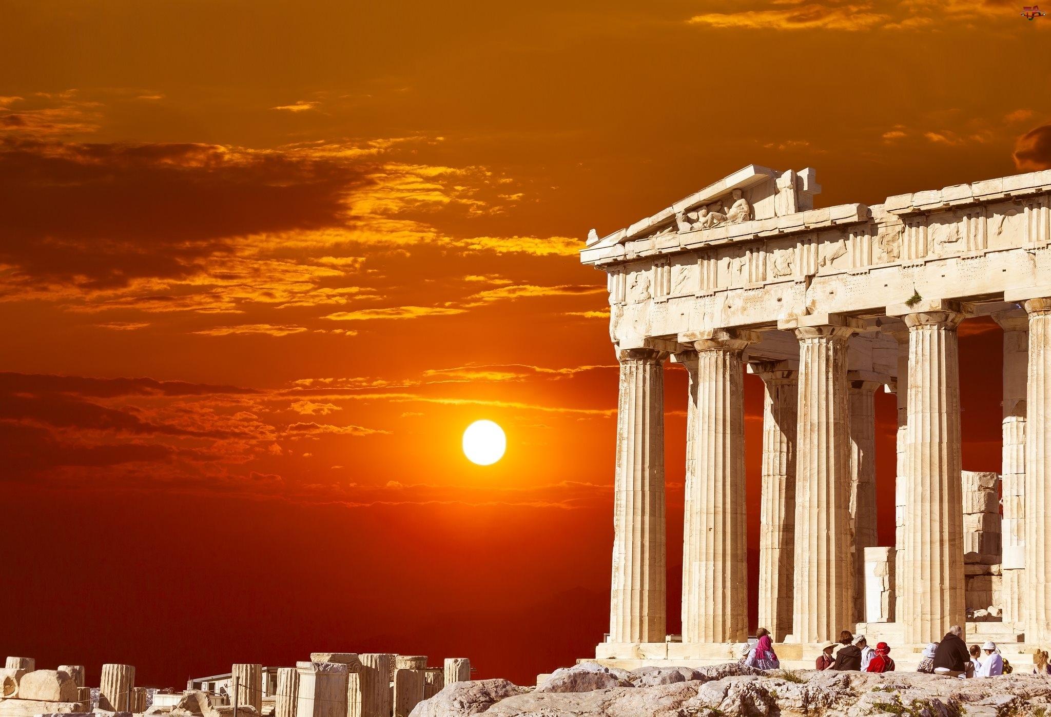 Partenon, Grecja, Zachód Słońca, Ateny