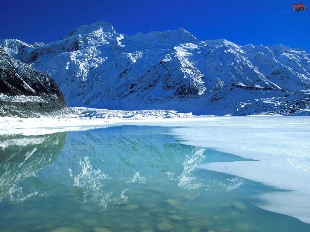 Nowa Zelandia, Zima, Góra, Jezioro