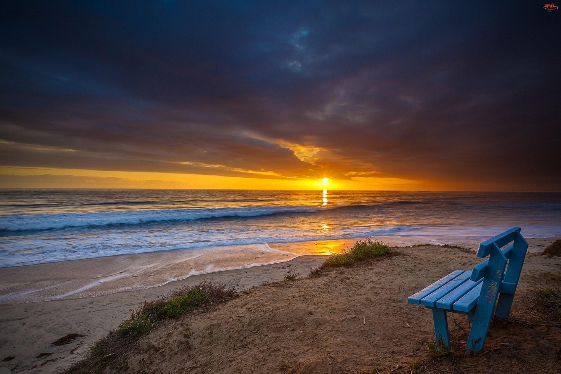 Słońca, Morze, Ławka, Plaża, Zachód