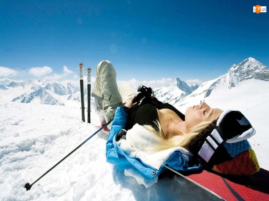 Góry, Snowbord, Śnieg, Kobieta