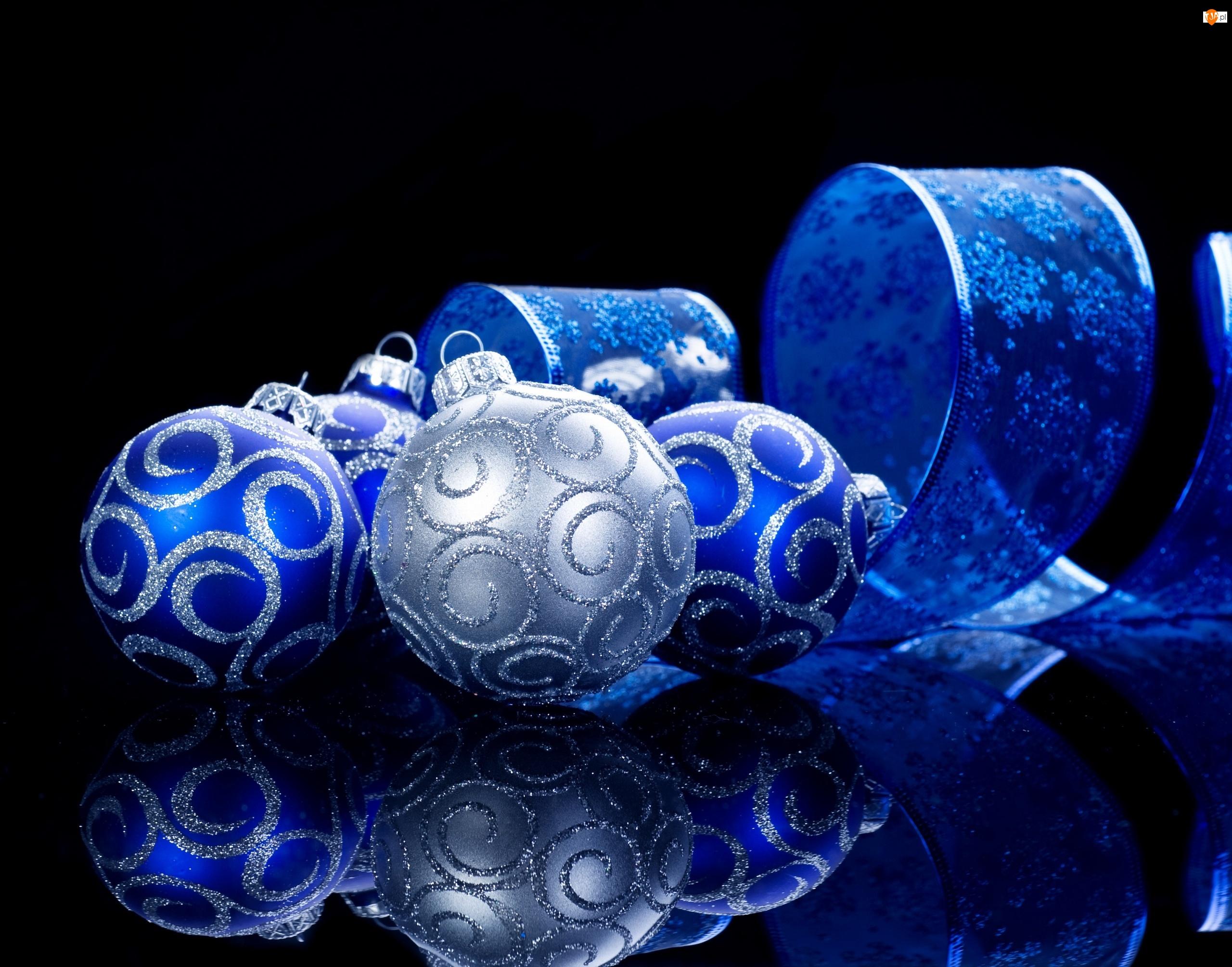 Niebieskie, Odbicie, Bombki, Choinkowe