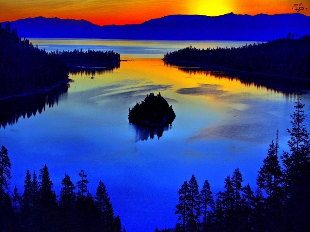 Jezioro, Zachód Słońca, Wysepka, Lasy