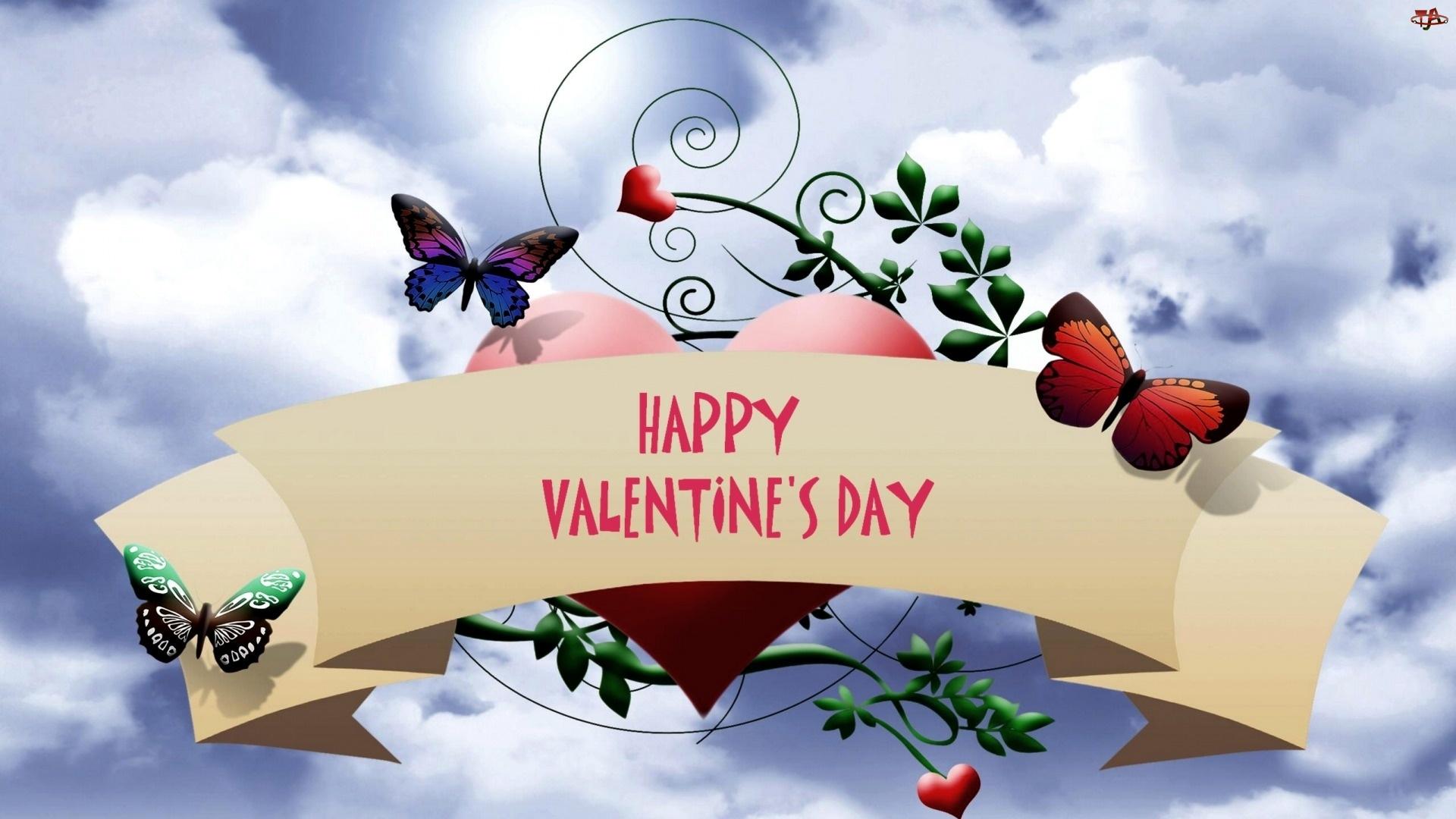 Walentynki, Kompozycja, Serce, Motyle