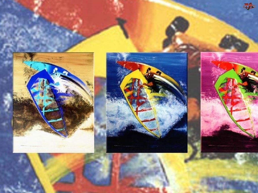 fala, Windsurfing, żagiel , deski kolorowe, morze