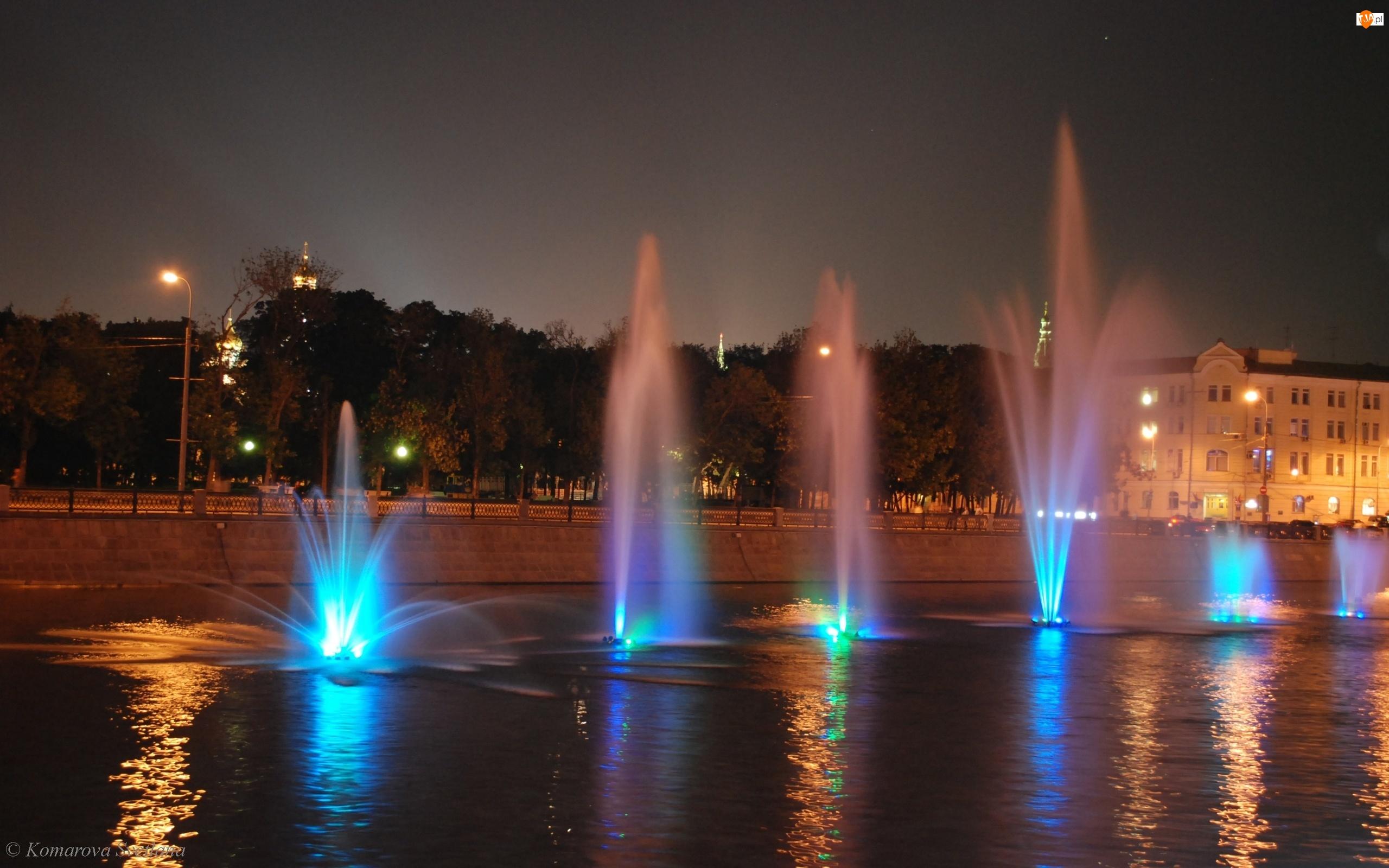 Fontanny, Kolorowe, Moskwa, Światła, Rzeka, Noc