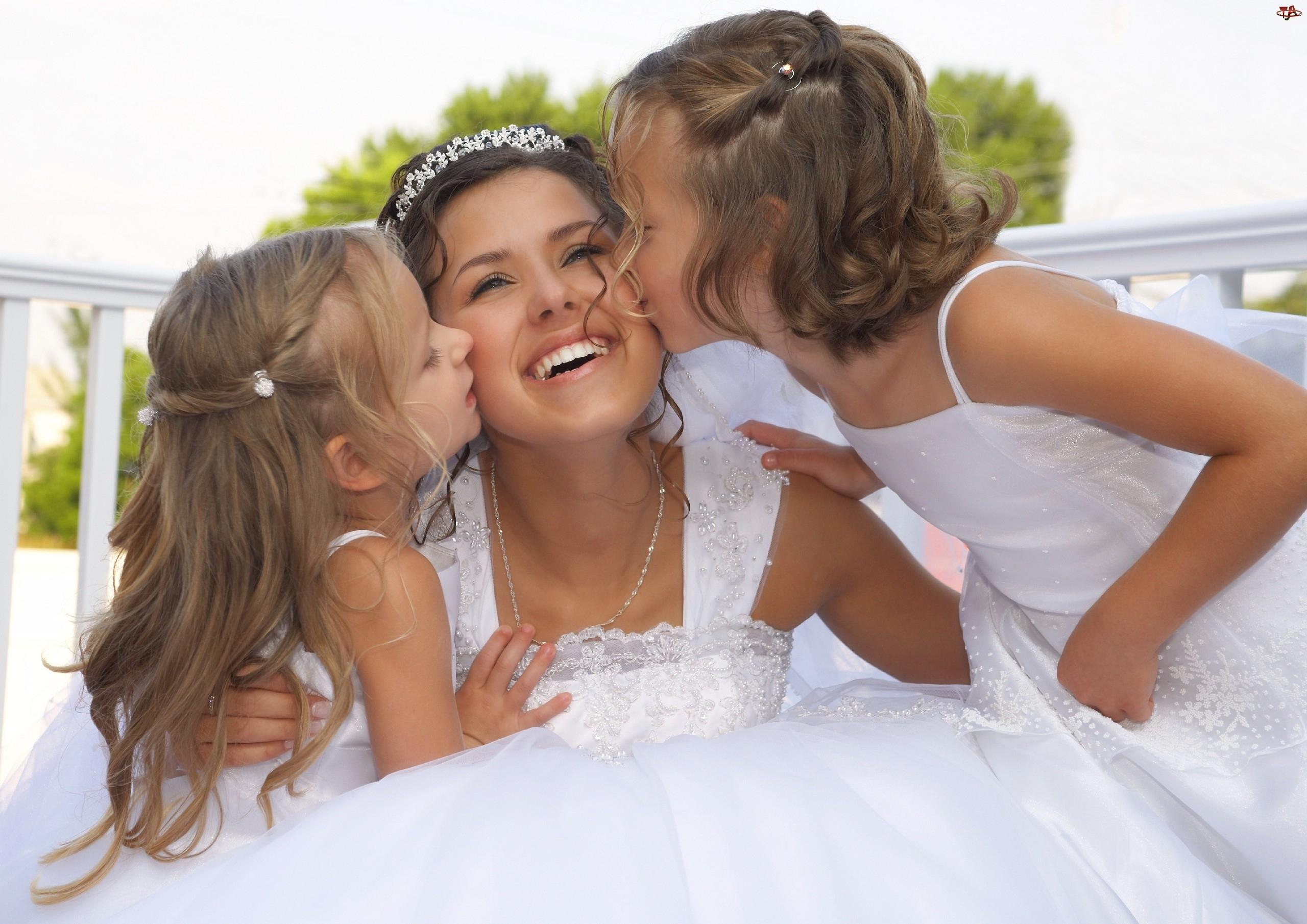 Kobieta, Ślub, Dwie, Dziewczynki
