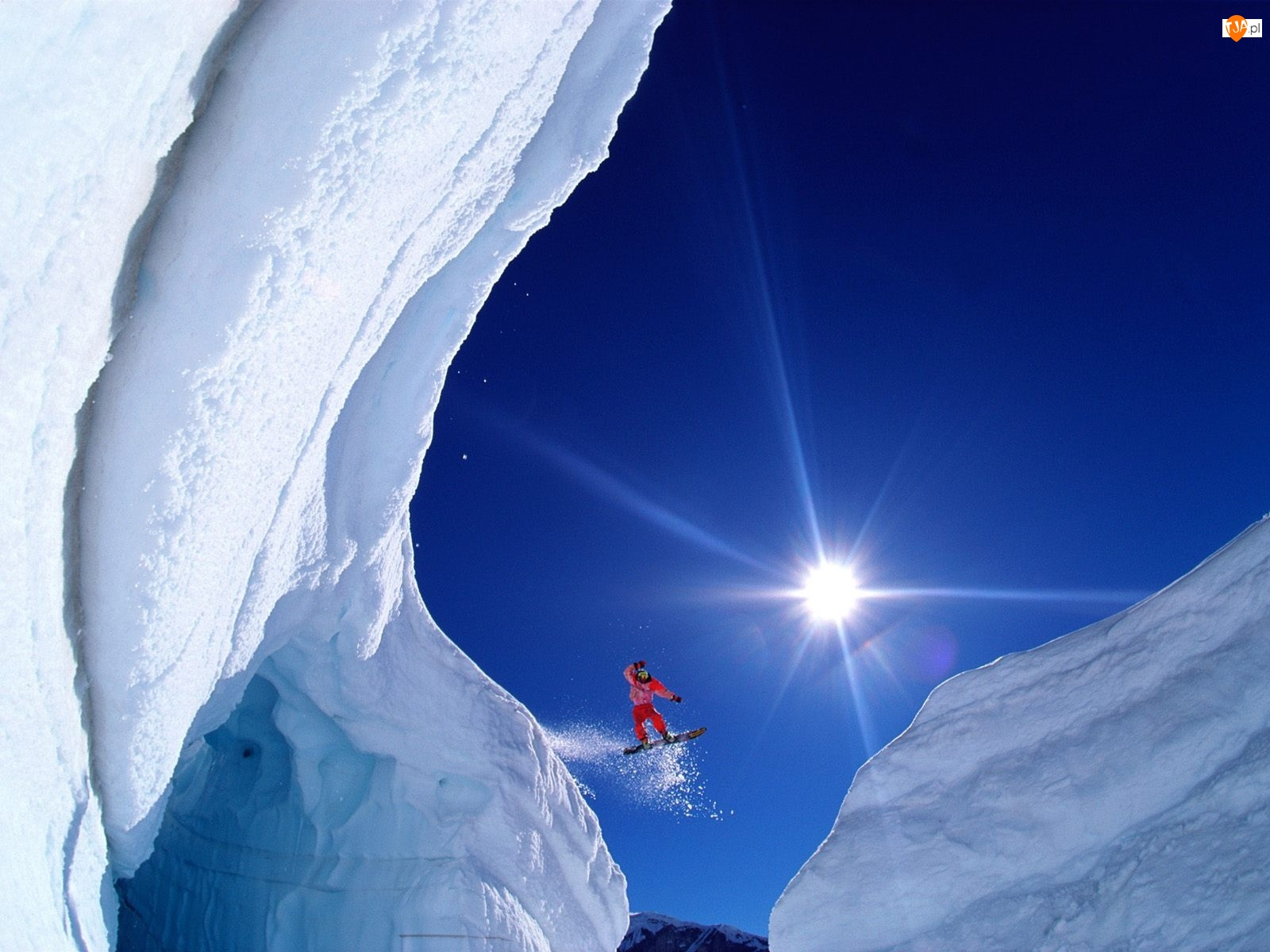 Niebo, Snowboardzista, Słońce, Góry