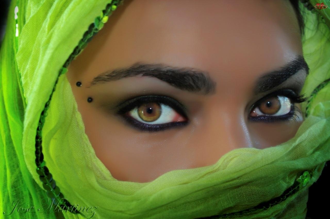 Kobieta, Oczy, Makijaż, Piwne