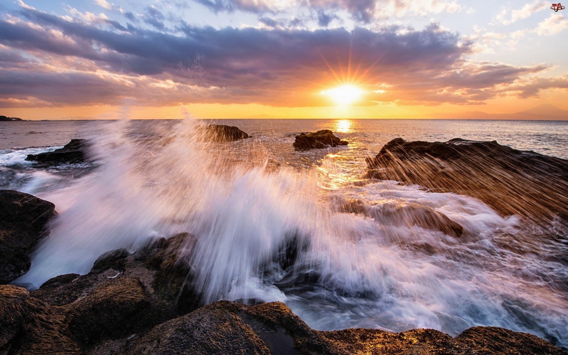 Morze, Słońca, Fale, Wschód