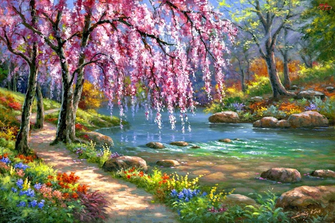 Drzewo, Dróżka, Kwiaty, Rzeka, Kwitnące