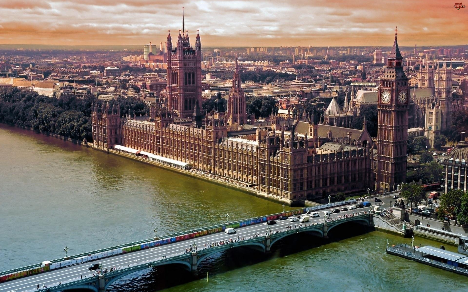 Miasta, Londyn, Most, Big Ben, Panorama