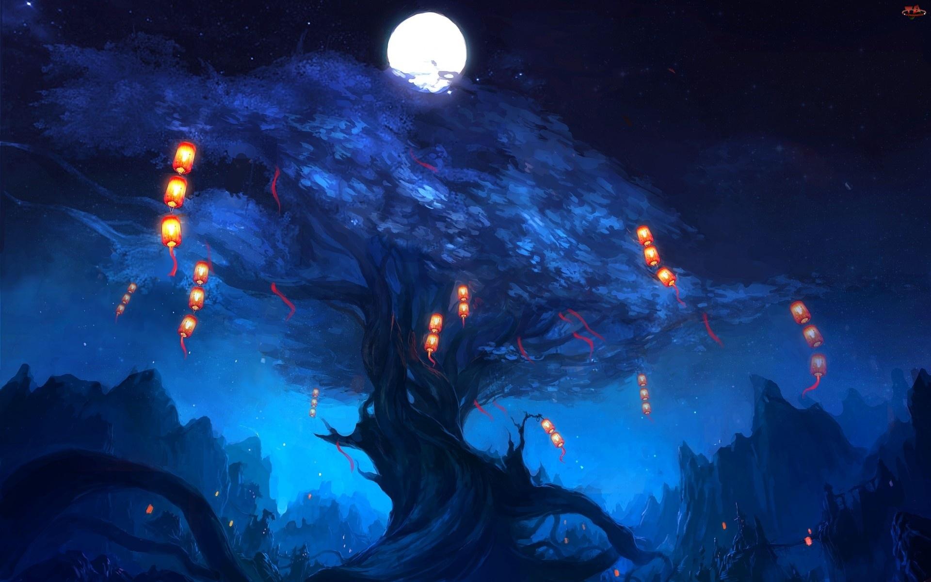 Noc, Księżyc, Drzewo, Lampiony