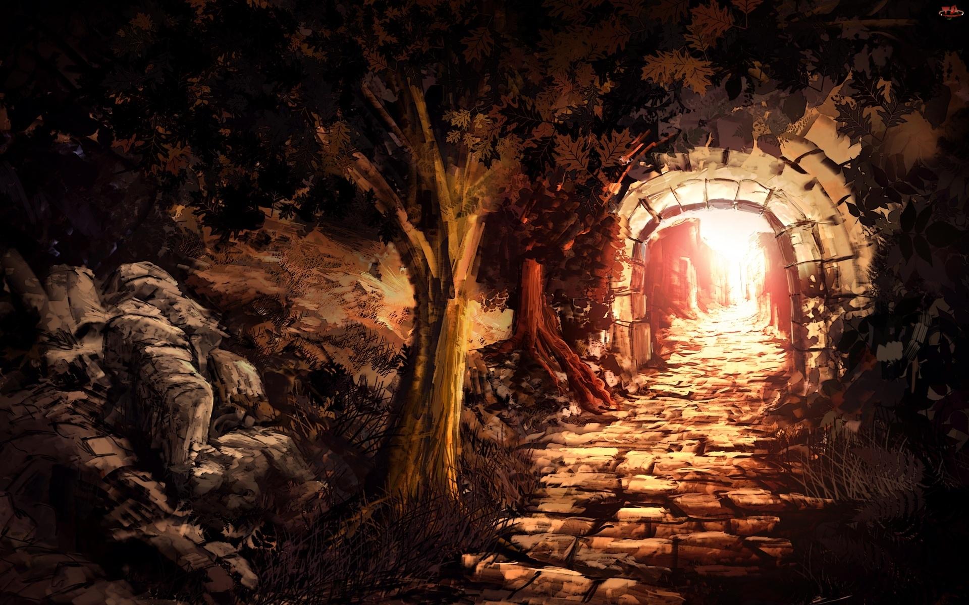 Obraz, Tunel, Drzewa