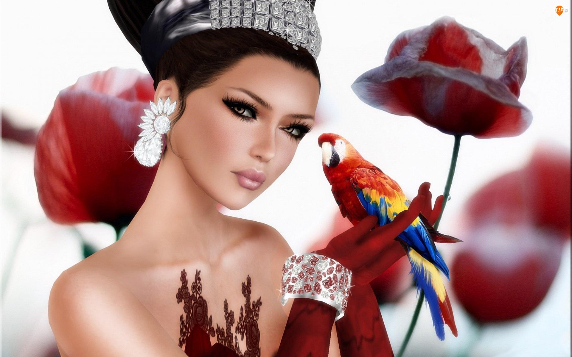 Kobieta, Ara, Biżuteria, Papuga