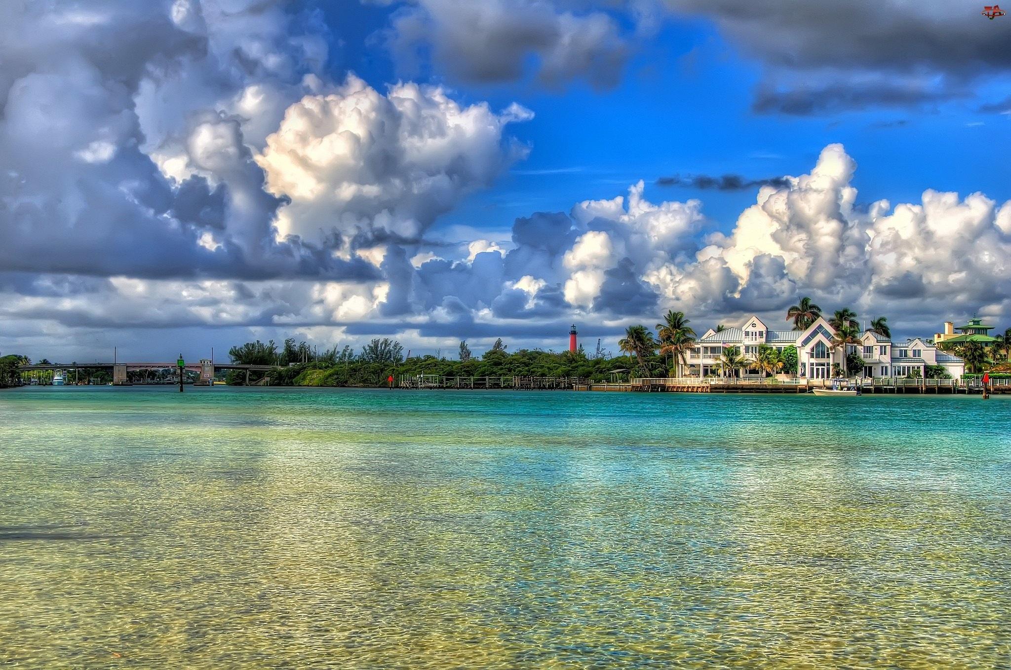 Rzeka, Floryda, Chmury, Dom