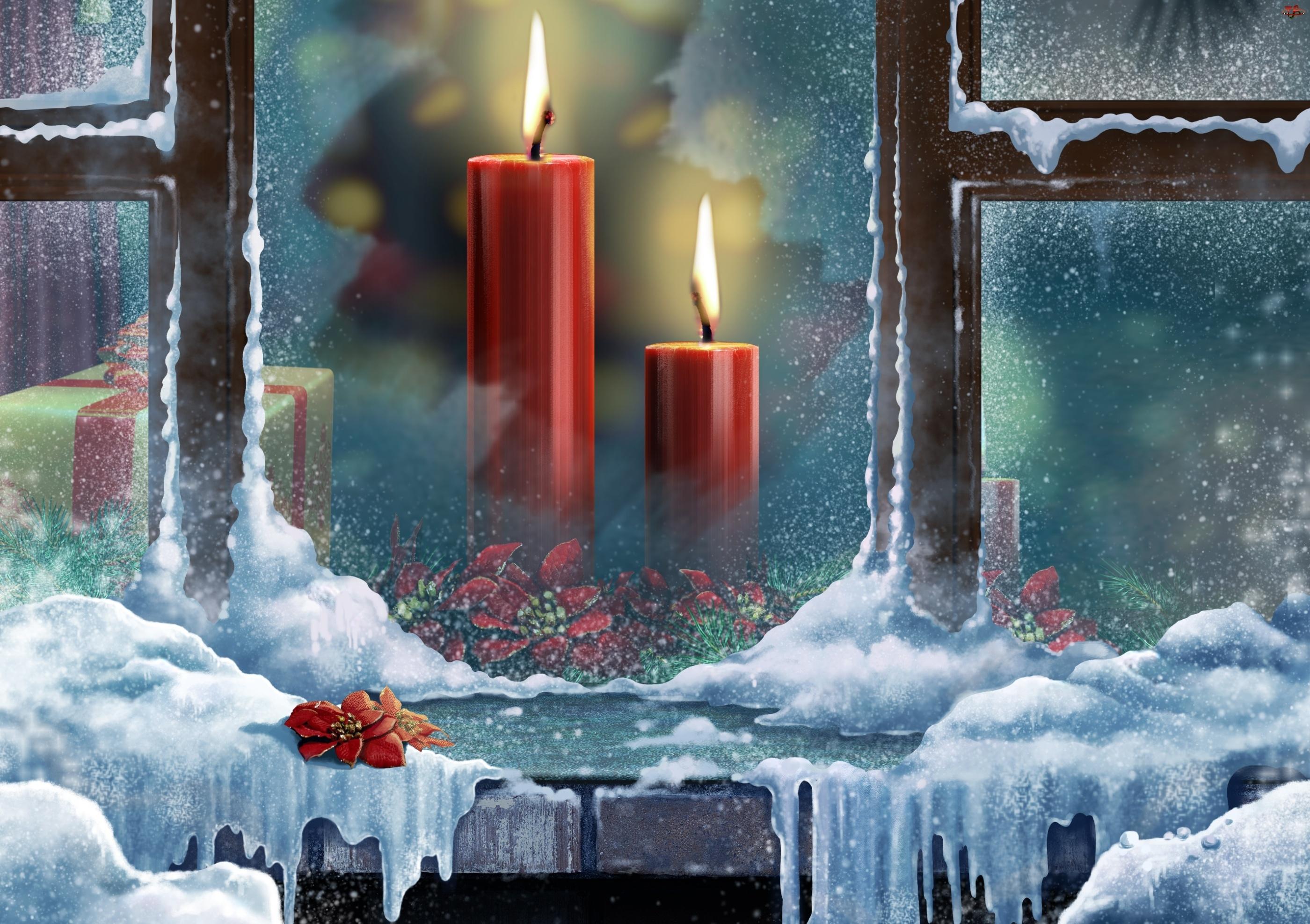 Grafika 2D, Okno, Śnieg, Świece, Boże Narodzenie