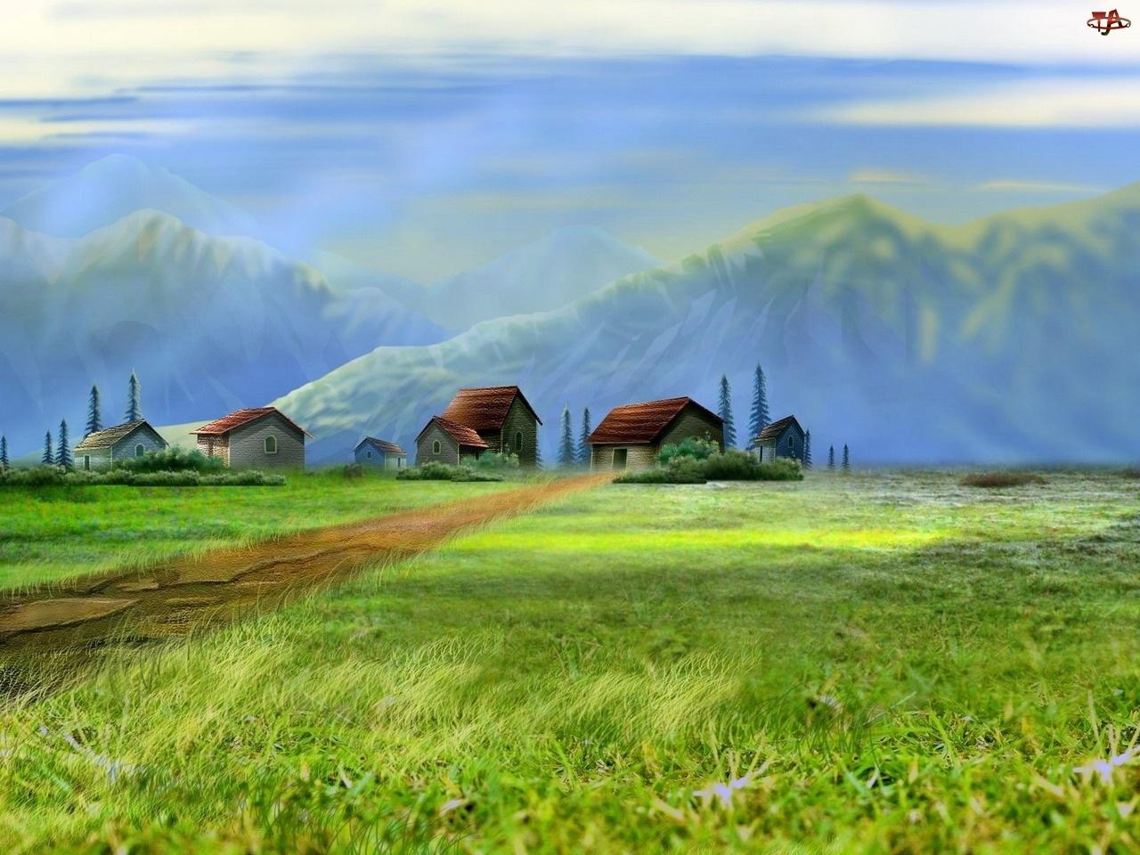 Domki, Rysunek, Wieś