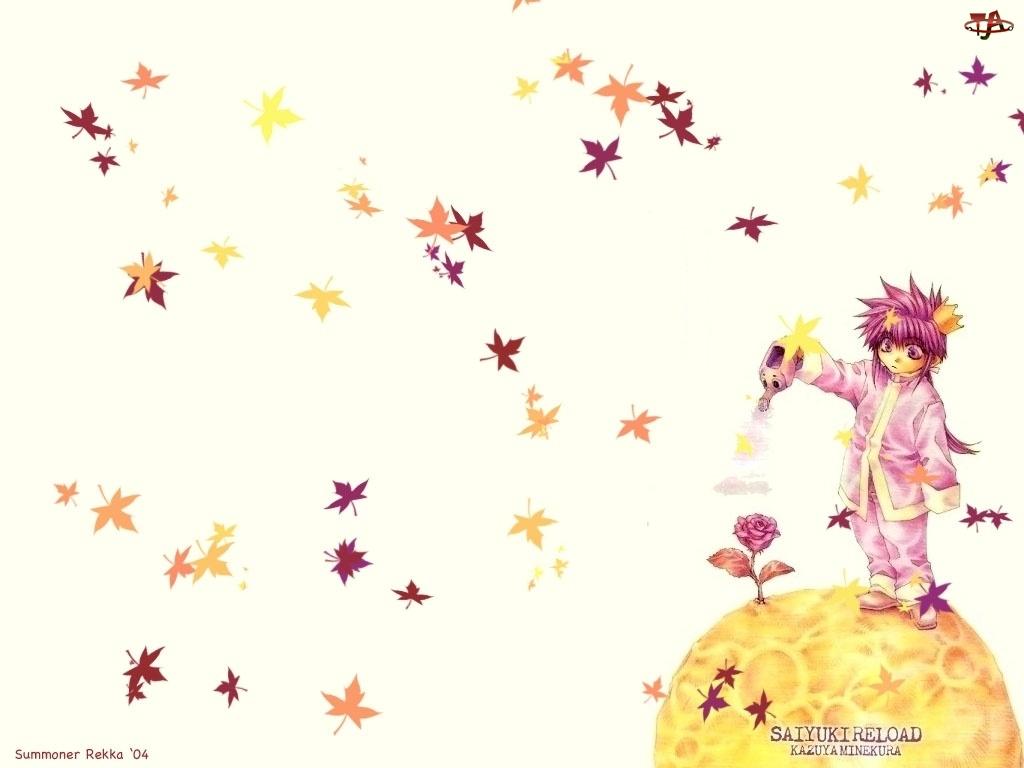 Saiyuki, dziecko, liście, kwiat