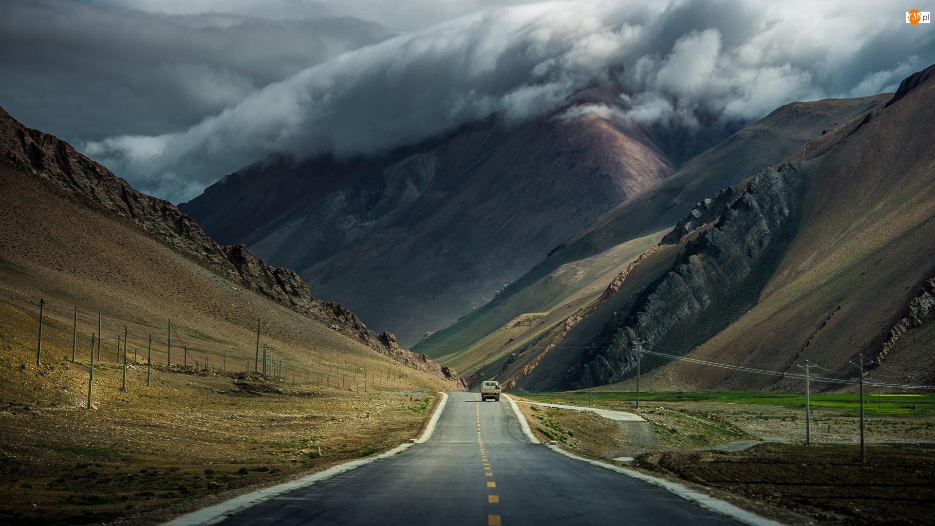 Droga, Chmury, Szczytami, Nad, Gór