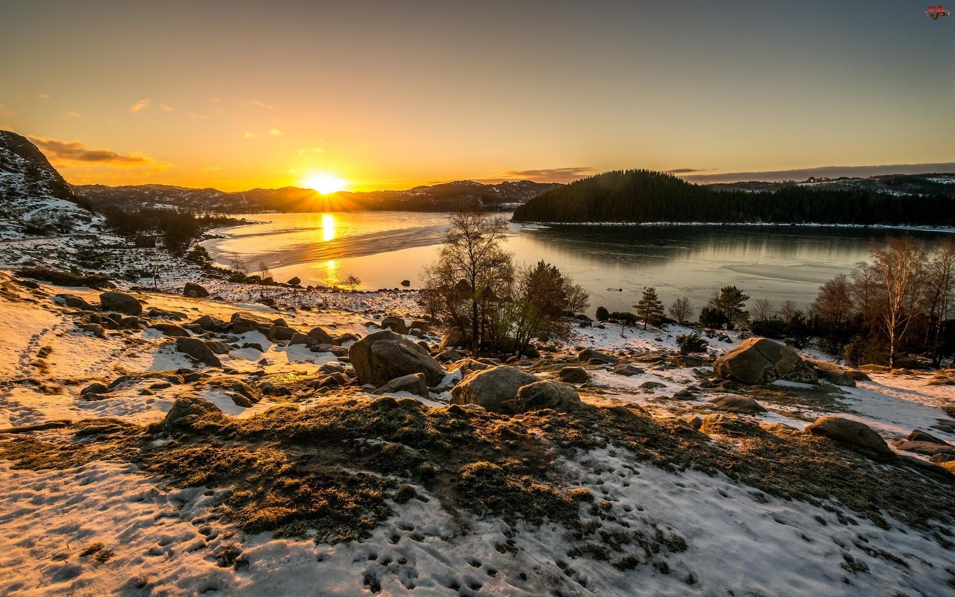 Rzeka, Zima, Zachodzące, Słońce