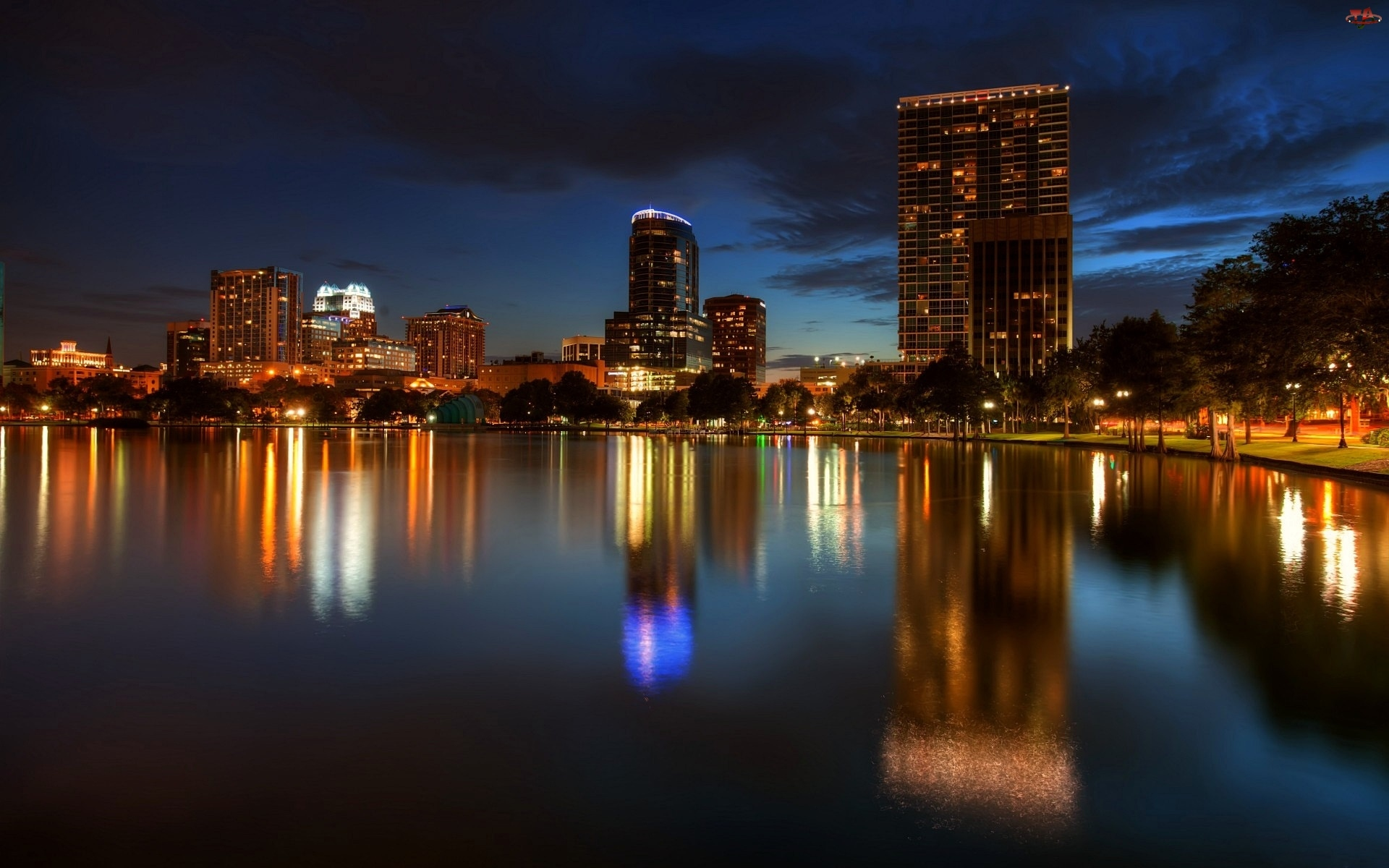 Jezioro, Floryda, Miasto, Noc