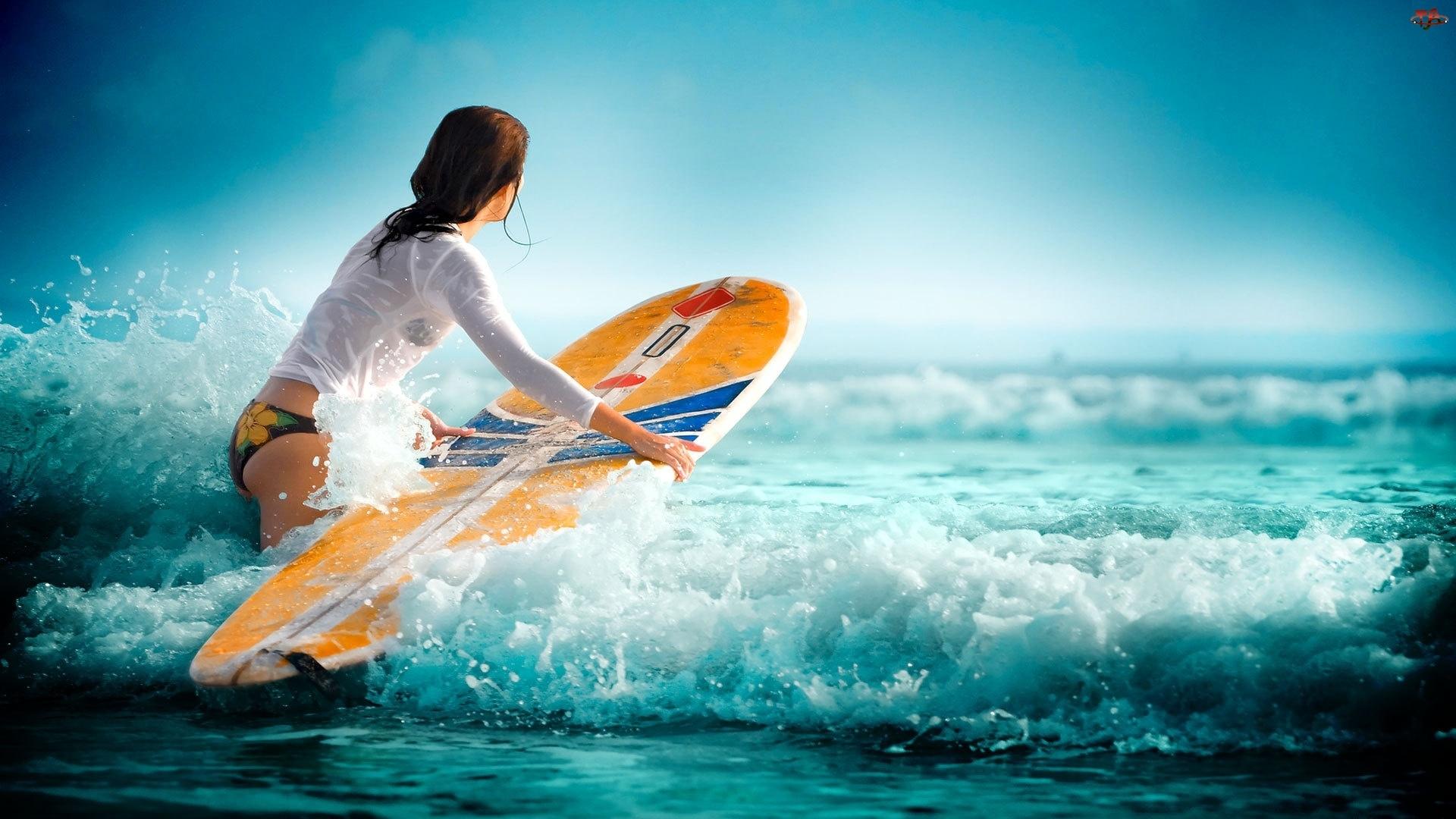 Kobieta, Surfing, Morze, Fale