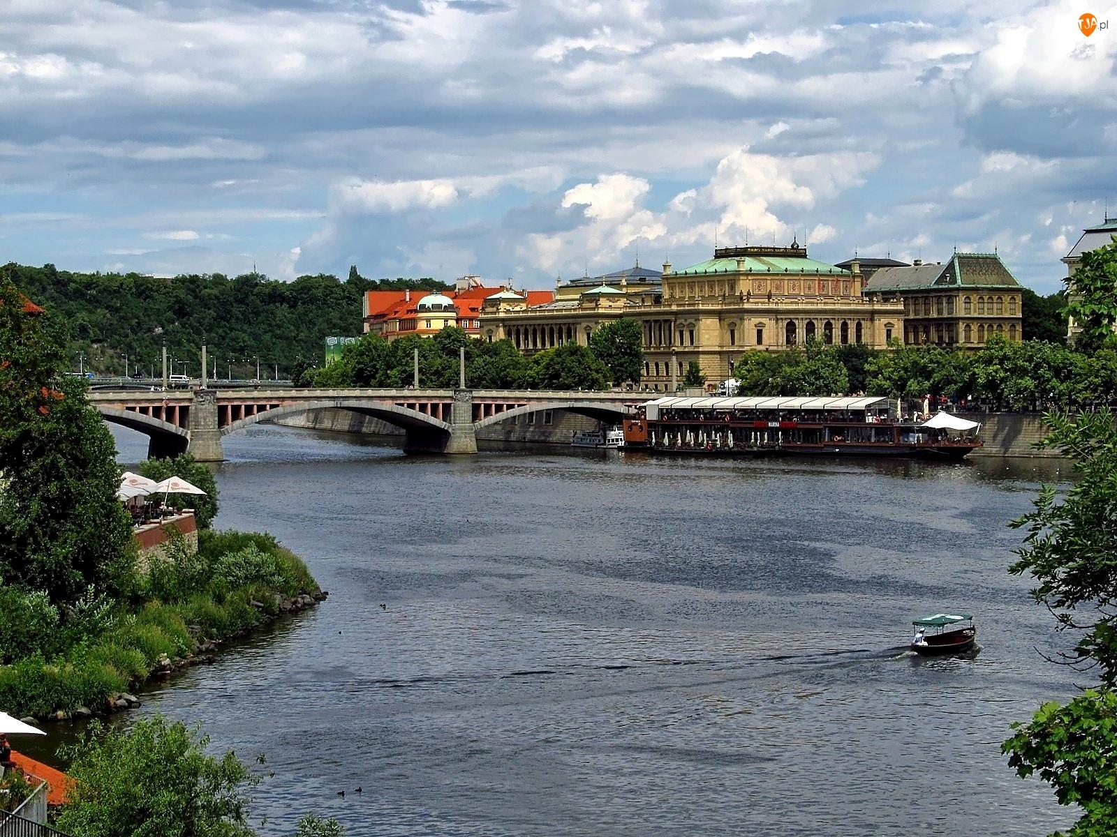Most, Domy, Praga, Zabytki, Wełtawa, Łódka