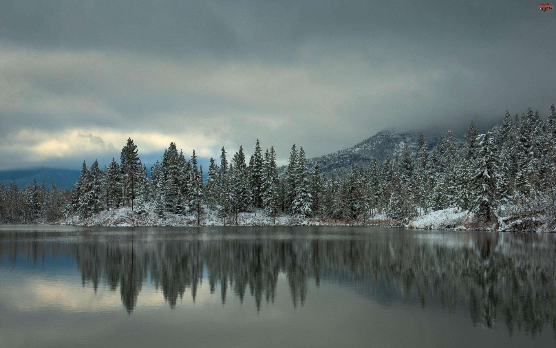 Góry, Zima, Las, Jezioro