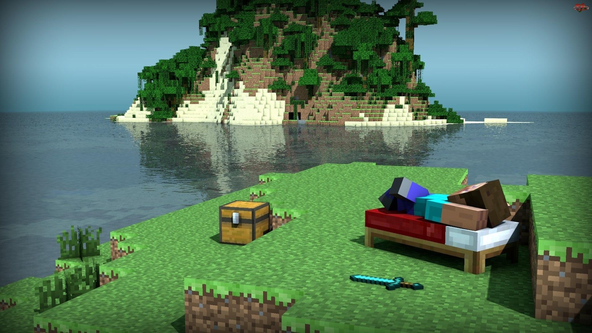 Drzewa, Minecraft, Wyspa, Człowiek, Skrzynia