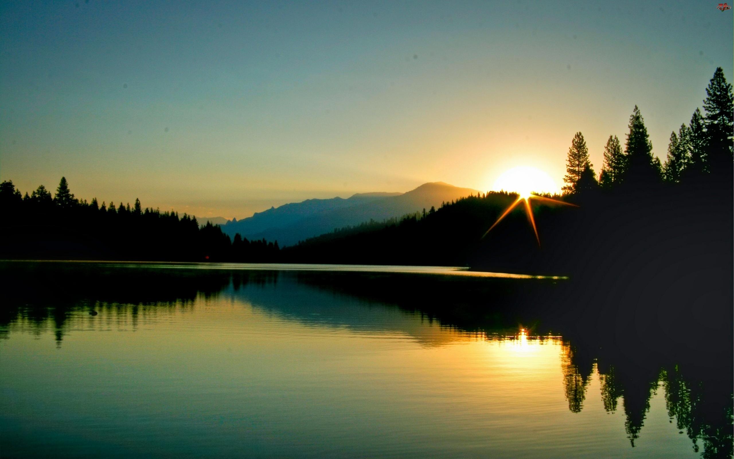 Las, Wschód, Góry, Słońca, Jezioro