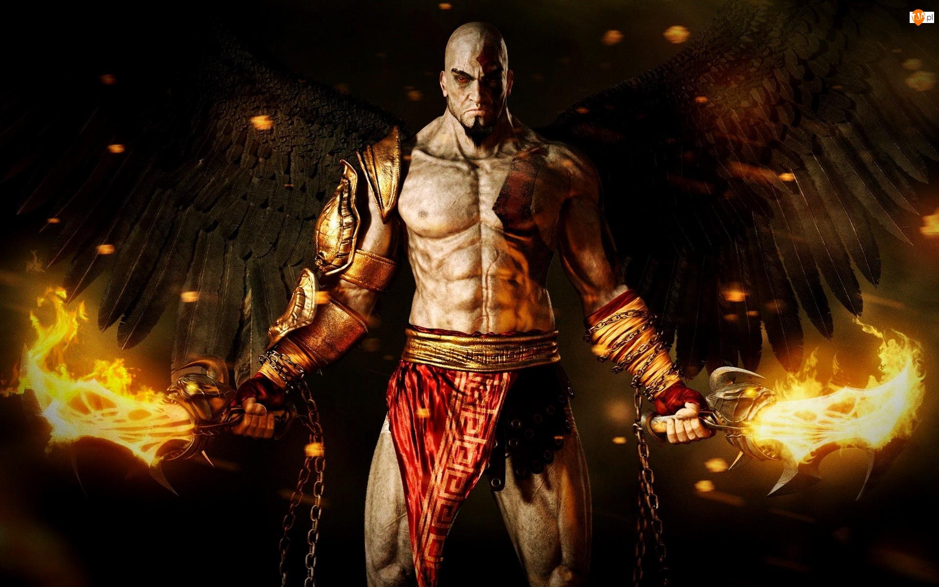 Wojownik, God Of War, Skrzydła, Miecze