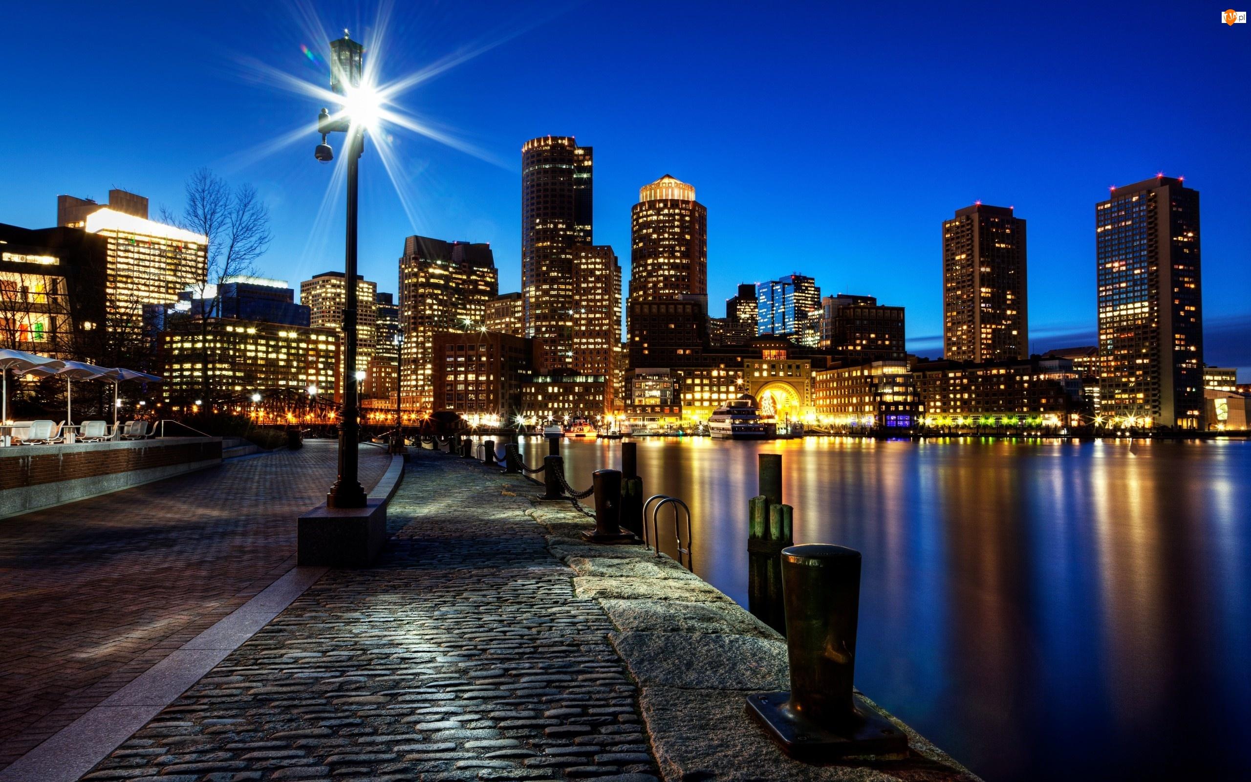 Stany Zjednoczone, Oświetlone, Miasto, Wieżowce, Boston