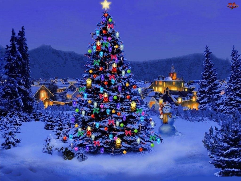 Zima, Boże Narodzenie, Choinka, Domy