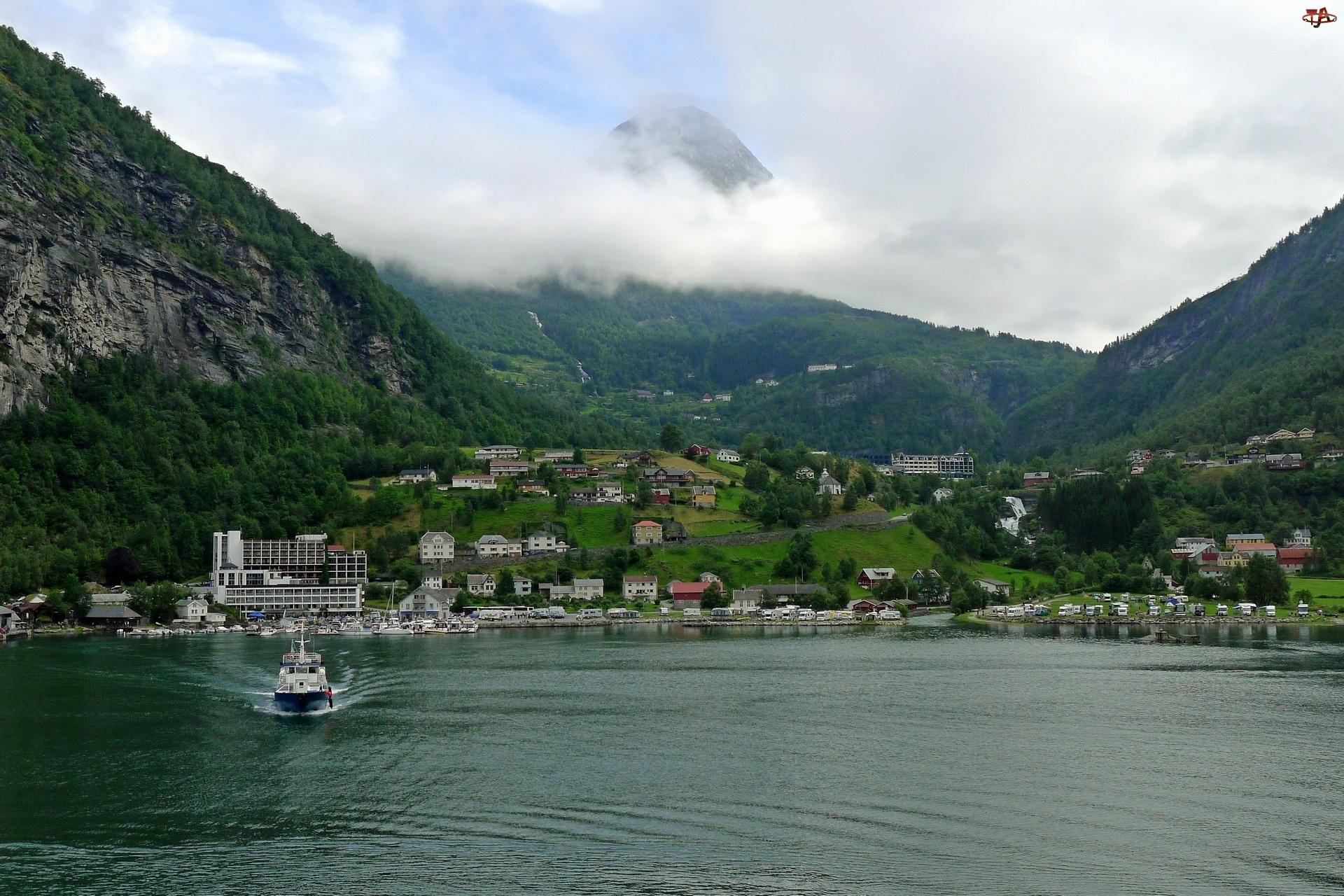 Jezioro, Góry, Norwegia, Lasy, Geiranger, Miasto
