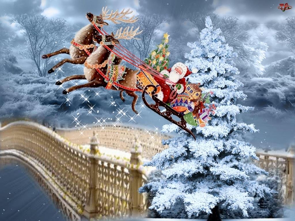 Malarstwo, Mikołaj, Boże, Sanie, Narodzenie