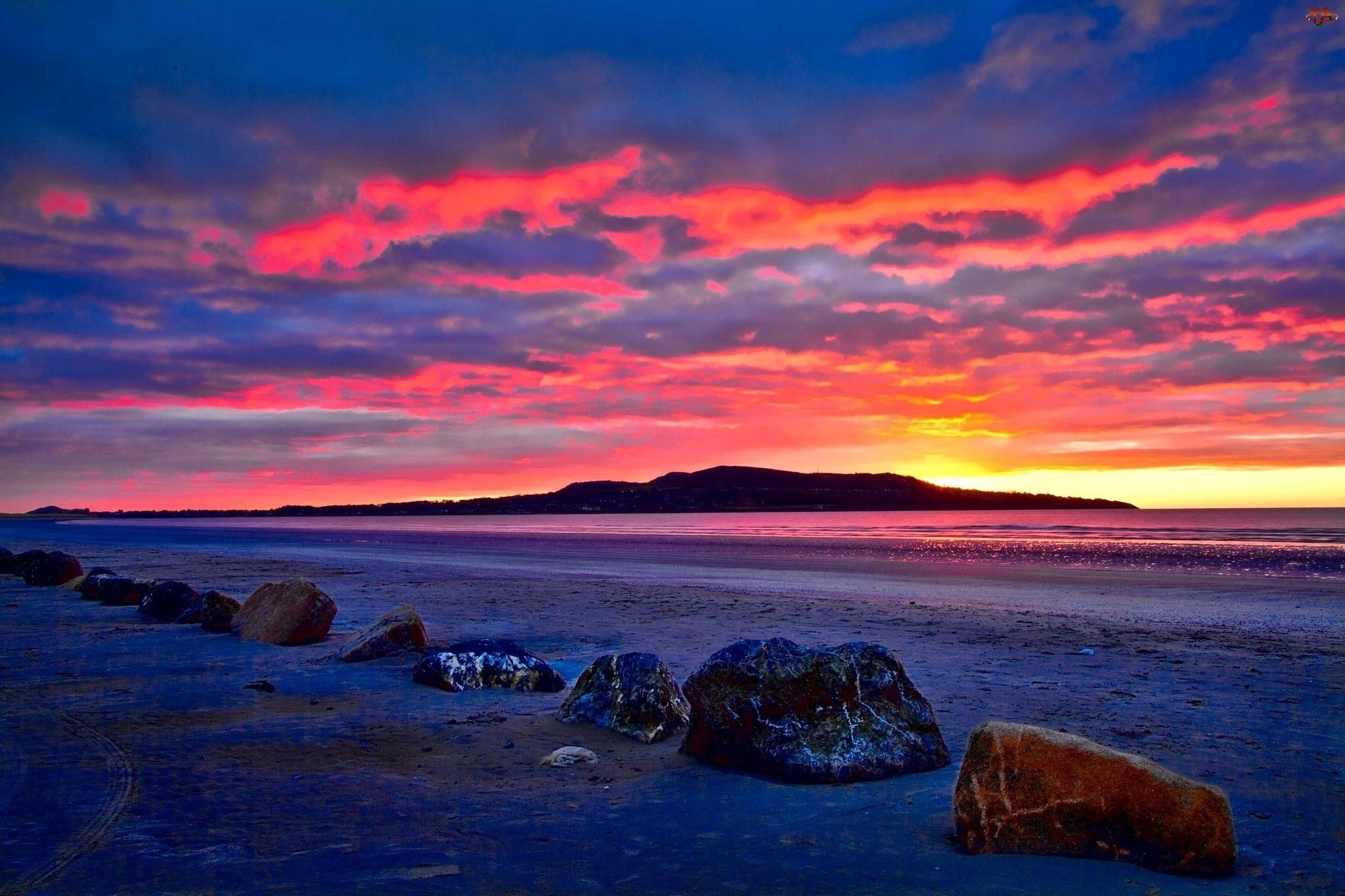 Słońca, Morze, Kamienie, Plaża, Zachód