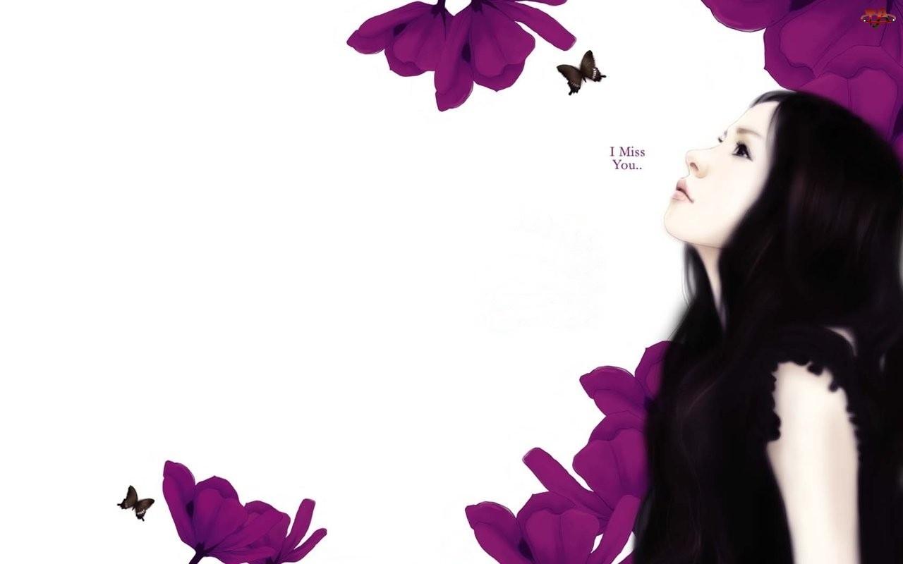 Motyle, Kobieta, Fioletowe, Brunetka, Kwiaty